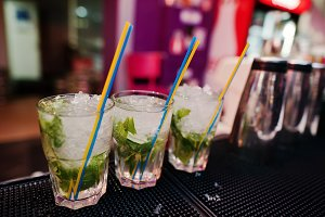 Three mojito coctail drink