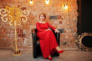 Elegant woman on red dress