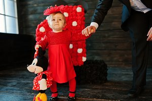 girl baby in red dress
