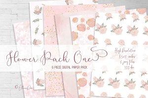 Floral Paper Digital Paper Pack Pink