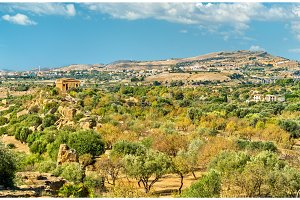 Panorama of the Valley of the Temples, a UNESCO World Heritage Site in Sicily, Italy
