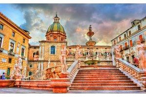 The Praetorian Fountain and the San Giuseppe dei Teatini Church in Palermo, Italy
