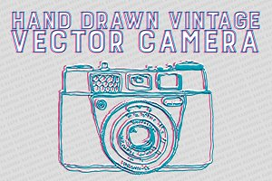 Hand Drawn Vintage CAMERA vector