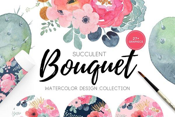Watercolor Florals & Succulents