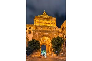 Porta Nuova, a monumental city gate of Palermo. Sicily, Italy