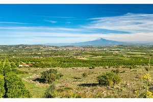 Panorama of Sicily with Mount Etna and Scordia town. Italy