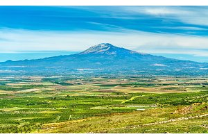 Panorama of Sicily with Mount Etna in the background. Italy