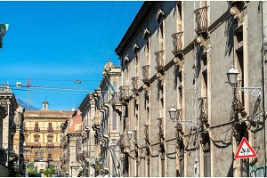 Architectural details of Catania, a city in Sicily, Italy