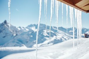 Icicles under roof
