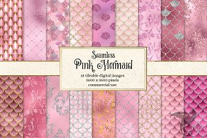 Pink Mermaid Digital Paper