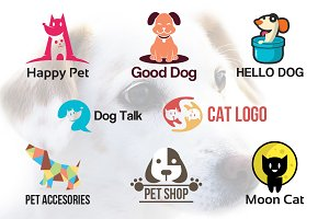 8 Cute Dog Cat Pets Logo Symbol