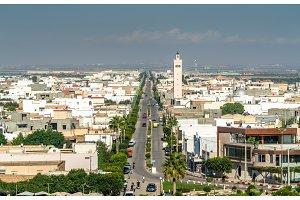 View of El Jem city from the Roman amphitheater, Tunisia.