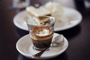Coffee mochiatto in glass