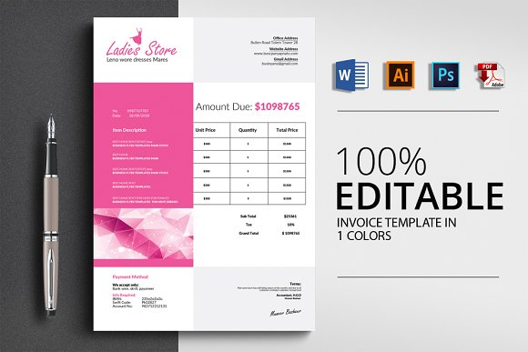 Professional Invoice With 4 Formats