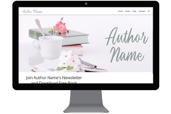 White Floral Divi Site For Authors