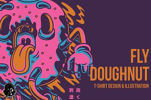 Fly Doughnut Illustration