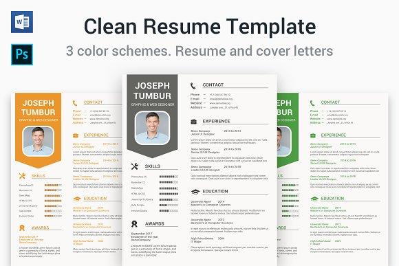 clean resume template cv resume templates creative market