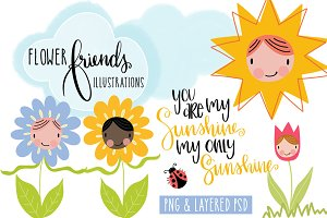 Flower Friends Illustrations