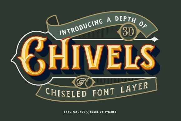 Chivels Chiseled Vintage 3D Type