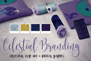 Celestial clip art + Digital Papers