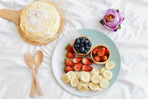 Tasty crape cake with fresh fruits