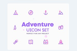 Adventure, Camping Icons Set