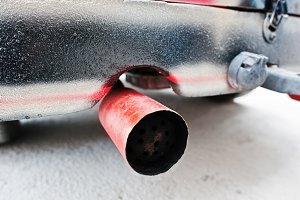 exhaust pipe of old vintage car