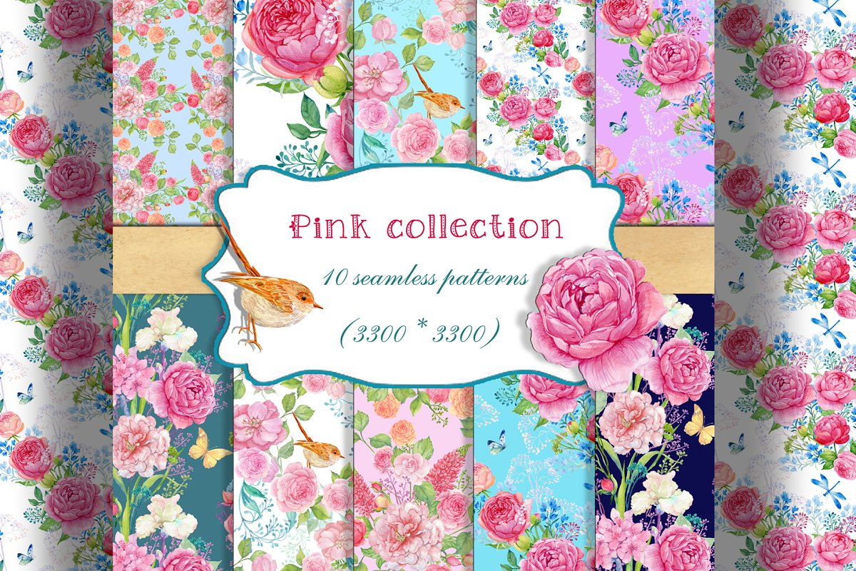 Pink Floral Patterns Custom Designed Graphic Patterns Creative