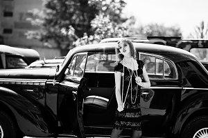 Retro car & girl
