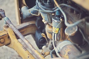 Yellow Tractor Engine Closeup