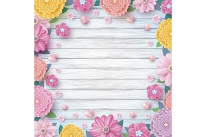 Colorful flowers on wood background