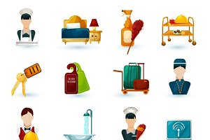 Hotel maid icons set
