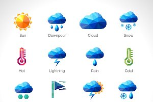 Weather forecast polygonal icons