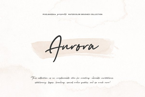 Photoshop Brushes: Pixelbuddha - Aurora Watercolor Brushes Collection