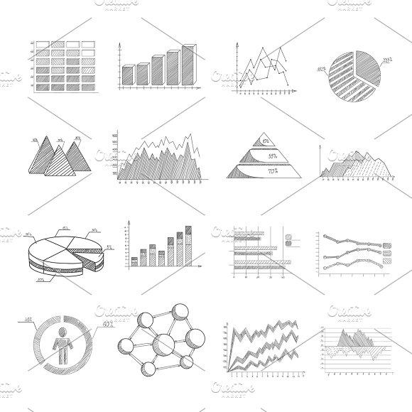 Sketch Diagrams Infographic Set