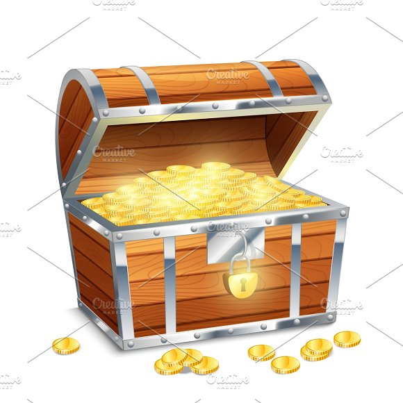 Рirate chest with golden coins