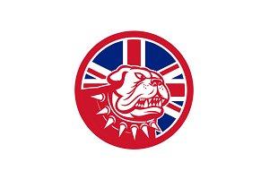 British Bulldog Head Union Jack Flag