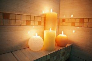 Burning candles in bathroom.