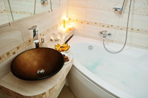 Modern washbasin in bathroom
