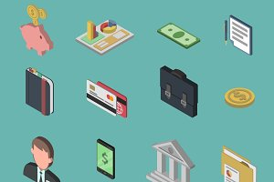 Bank isometric icon set