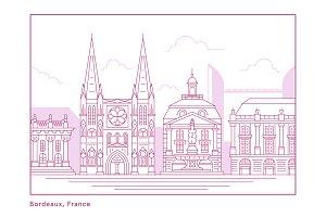 Bordeaux Skyline Illustration