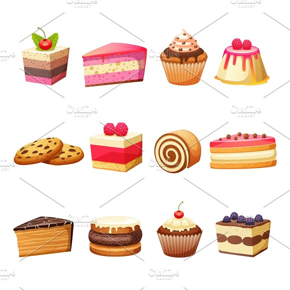 Cakes Pastry And Sweet Desserts Set