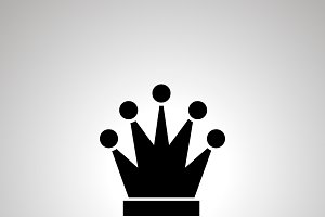 Simple black Queen chess icon