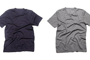 Grey and blue blank t-shirts isolate