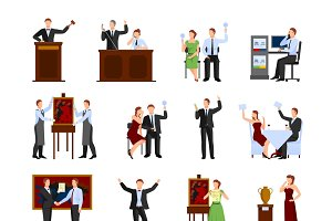Auction people flat icons set