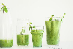 Matcha green smoothie with chia seeds, copy space, square crop