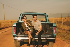 Couple enjoying on a road trip