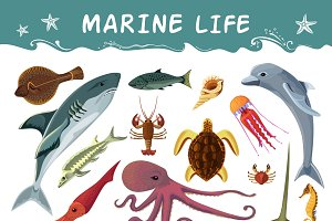Marine inhabitants cartoon icons