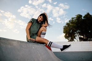 Female skateboarder