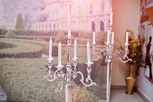 Silver vintage metal candlesticks